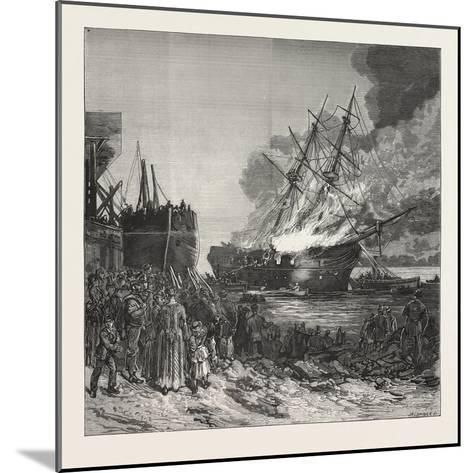 Burning of the Marine Society's Training-Ship the Warspite, Off Charlton, 1876--Mounted Giclee Print