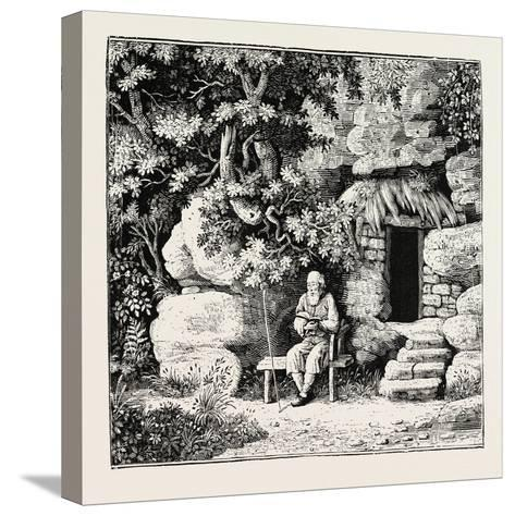 The Hermit at His Morning Devotions. from Goldsmith and Parnell's Poems--Stretched Canvas Print