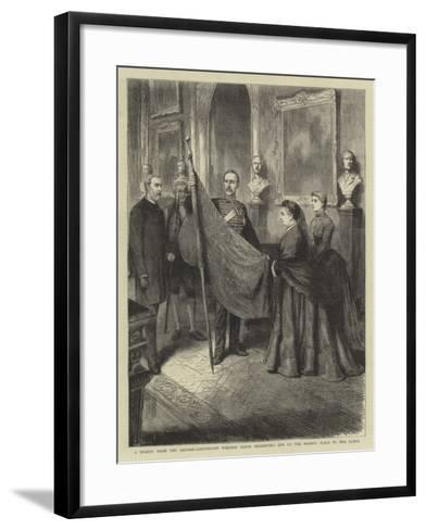 A Trophy from the Soudan, Lieutenant Wilford Lloyd Presenting One of the Mahdi's Flags to the Queen--Framed Art Print