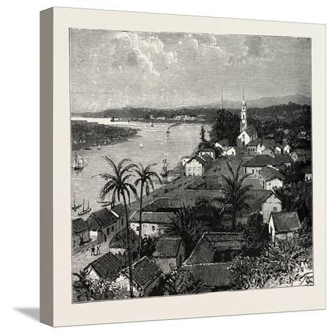 View of the City of Tuxpan from Observatory Hill, Looking West, Mexico, 1888--Stretched Canvas Print