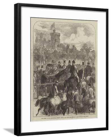 The Queen at the Agricultural Society's Show in the Home Park, Windsor, the Judging of the Horses--Framed Art Print