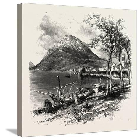Lugano and Monte Salvatore, the Italian Lakes, Italy, 19th Century--Stretched Canvas Print