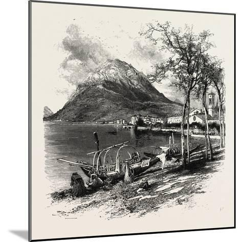 Lugano and Monte Salvatore, the Italian Lakes, Italy, 19th Century--Mounted Giclee Print