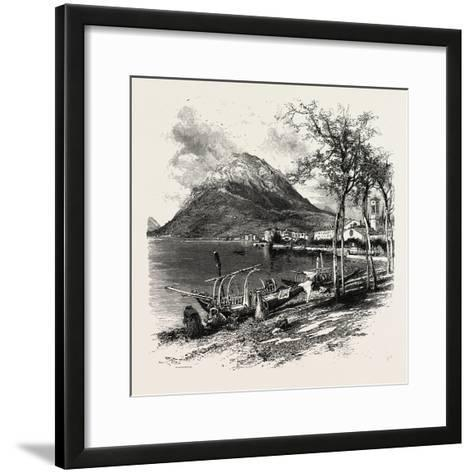 Lugano and Monte Salvatore, the Italian Lakes, Italy, 19th Century--Framed Art Print