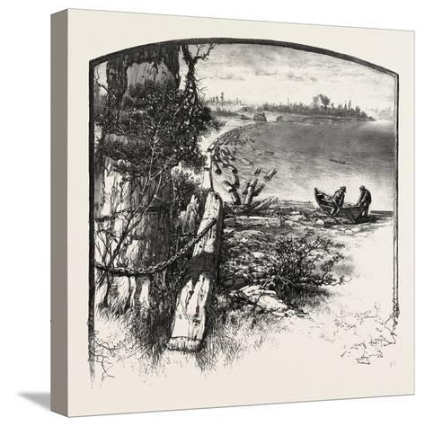 The Upper Ottawa, Timber Boom, Fitzroy Harbour, Canada, Nineteenth Century--Stretched Canvas Print