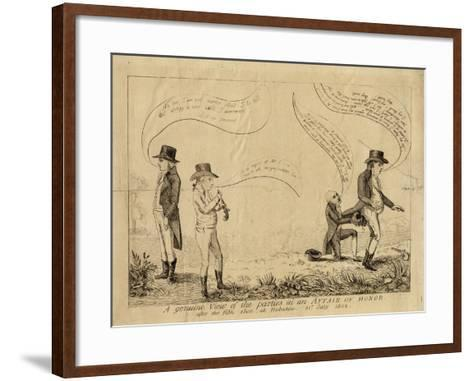A Genuine View of the Parties in an Affair of Honor after the Fifth Shot at Hoboken, July 31, 1802--Framed Art Print