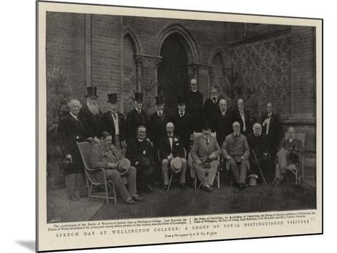 Speech Day at Wellington College, a Group of Royal Distinguished Visitors--Mounted Giclee Print