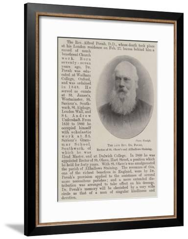 The Late Reverend Dr Povah, Rector of St Olave's and Allhallows Staining--Framed Art Print