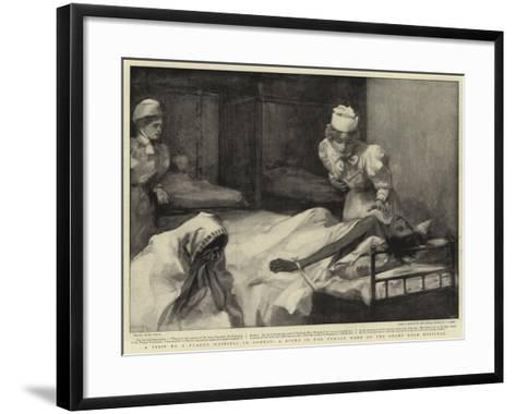 A Visit to a Plague Hospital in Bombay, a Scene in the Female Ward of the Grant Road Hospital--Framed Art Print