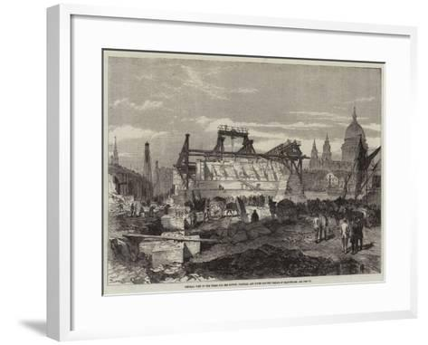 General View of the Works for the London, Chatham, and Dover Railway Bridge at Blackfriars--Framed Art Print