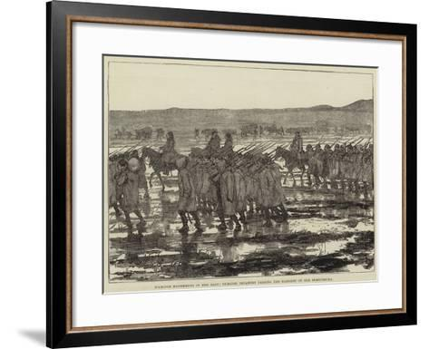 Warlike Movements in the East, Turkish Infantry Passing the Marshes of the Dobrudscha--Framed Art Print