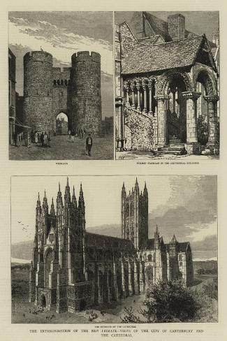 The Enthronisation of the New Primate, Views of the City of Canterbury and the Cathedral--Stretched Canvas Print