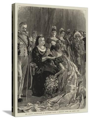Her Majesty's Drawing-Room at Buckingham Palace, a Debutante Kissing the Queen's Hand--Stretched Canvas Print