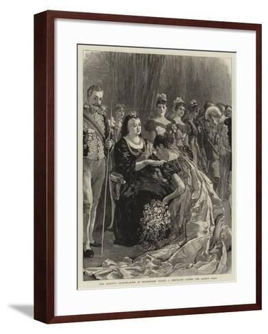 Her Majesty's Drawing-Room at Buckingham Palace, a Debutante Kissing the Queen's Hand--Framed Art Print