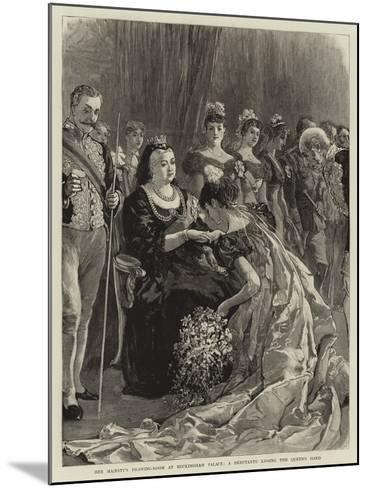 Her Majesty's Drawing-Room at Buckingham Palace, a Debutante Kissing the Queen's Hand--Mounted Giclee Print