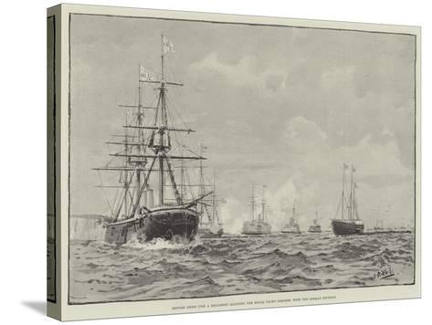 British Ships (The a Squadron) Saluting the Royal Yacht Osborne, with the German Emperor--Stretched Canvas Print