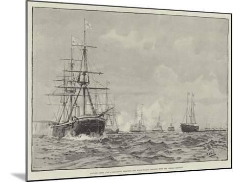 British Ships (The a Squadron) Saluting the Royal Yacht Osborne, with the German Emperor--Mounted Giclee Print