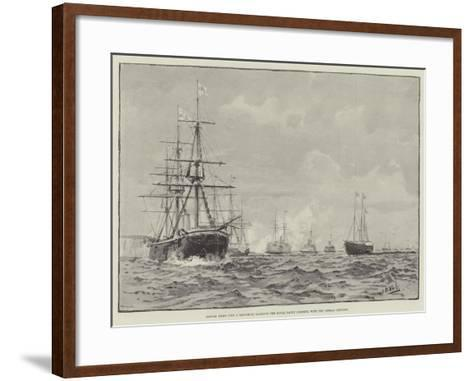 British Ships (The a Squadron) Saluting the Royal Yacht Osborne, with the German Emperor--Framed Art Print