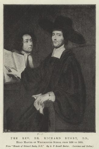 The Reverend Dr Richard Busby, Dd, Head Master of Westminster School Form 1638 to 1695--Stretched Canvas Print