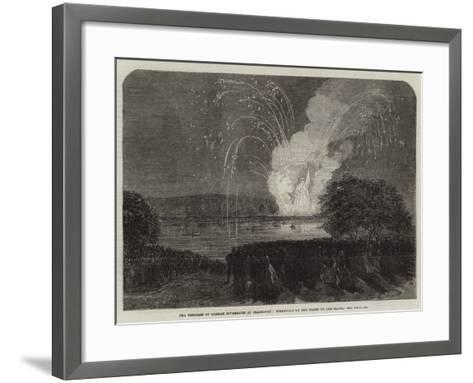 The Congress of German Sovereigns at Frankfort, Fireworks on the Banks of the Maine--Framed Art Print