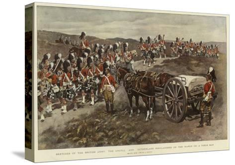 Sketches of the British Army, the Argyll and Sutherland Highlanders on the March on a Field Day--Stretched Canvas Print