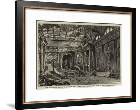 The Disastrous Fire at Freemasons' Hall, Great Queen Street, the Scene of the Conflagration--Framed Art Print