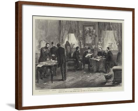 Signing the Treaty of Peace Between Russia and Turkey at San Stefano, Near Constantinople--Framed Art Print