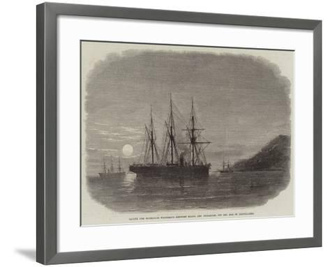 Laying the Submarine Telegraph Between Malta and Gibraltar, Off the Isle of Pantellaria--Framed Art Print