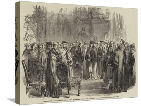 Presentation of Addresses to Her Majesty, at Windsor Castle, the Ante-Room to St George's Hall--Stretched Canvas Print