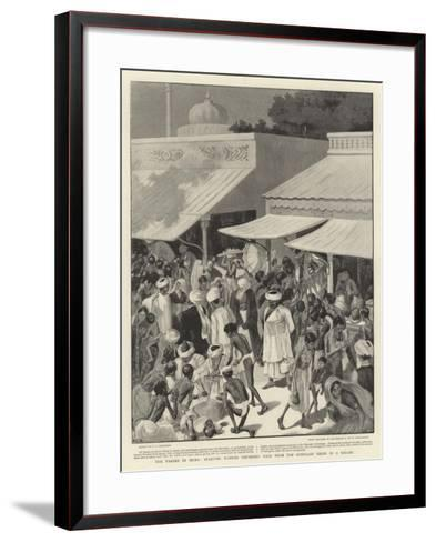 The Famine in India, Starving Natives Obtaining Food from the Bunniahs' Shops in a Bazaar--Framed Art Print