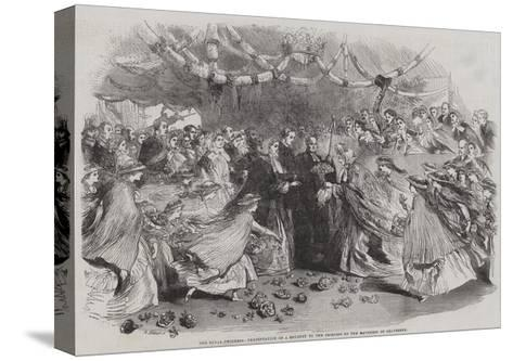 The Royal Progress, Presentation of a Bouquet to the Princess by the Mayoress of Gravesend--Stretched Canvas Print