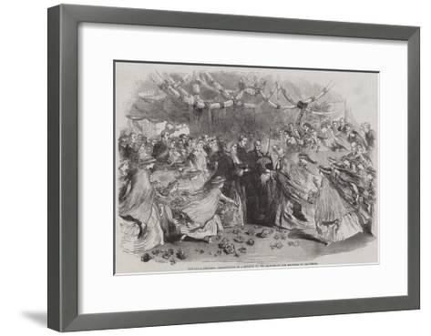 The Royal Progress, Presentation of a Bouquet to the Princess by the Mayoress of Gravesend--Framed Art Print