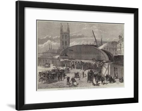Charing-Cross Railway Works, Monster Iron Girder-Bridge at the London-Bridge Railway Station--Framed Art Print