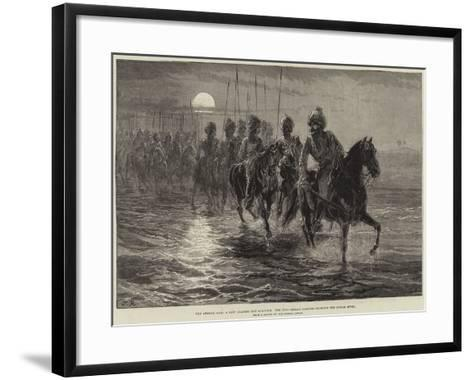 The Afghan War, a Raid Against the Momunds, the 11th Bengal Lancers Crossing the Kunar River--Framed Art Print