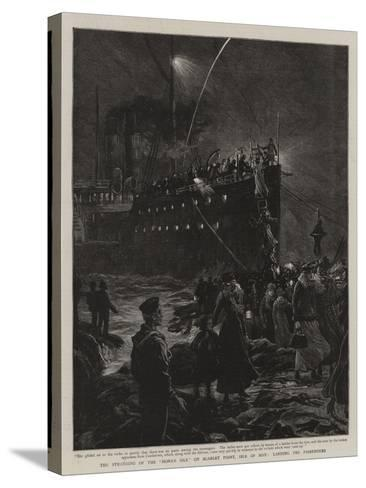 The Stranding of the Mona's Isle on Scarlet Point, Isle of Man, Landing the Passengers--Stretched Canvas Print