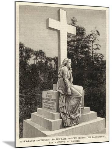 Baden-Baden, Monument to the Late Princess Hohenlohe Langenburg, Her Majesty's Half-Sister--Mounted Giclee Print