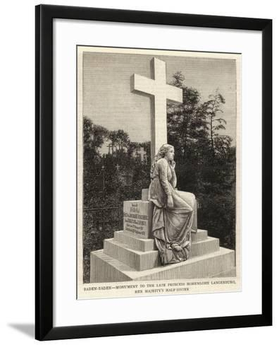 Baden-Baden, Monument to the Late Princess Hohenlohe Langenburg, Her Majesty's Half-Sister--Framed Art Print