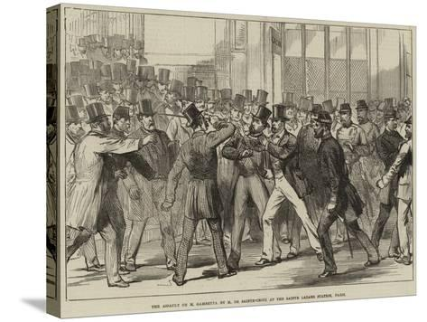 The Assault on M Gambetta by M De Sainte-Croix at the Sainte Lazare Station, Paris--Stretched Canvas Print