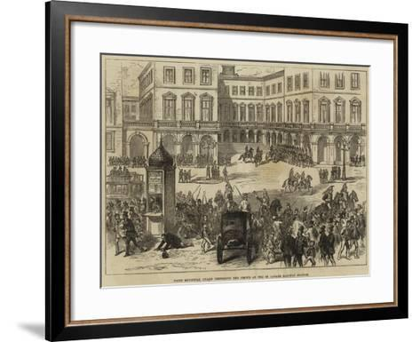 Paris Municipal Guard Dispersing the Crowd at the St Lazare Railway Station--Framed Art Print