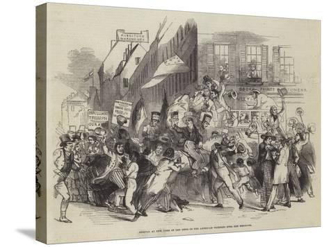 Arrival at New York of the News of the American Victories over the Mexicans--Stretched Canvas Print