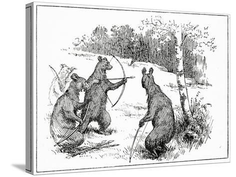 The Bears Practicing Shooting Arrows, from 'The Book of Myths' by Amy Cruse, 1925--Stretched Canvas Print