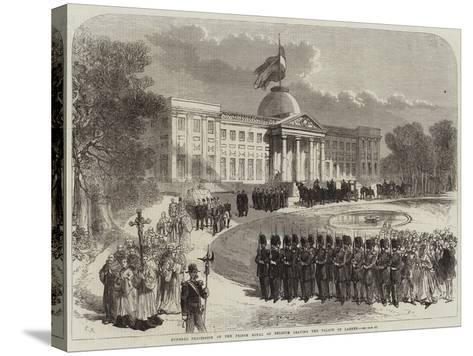Funeral Procession of the Prince Royal of Belgium Leaving the Palace of Laeken--Stretched Canvas Print