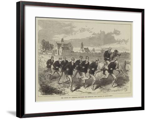 The Oxford and Cambridge Boat-Race, the Cambridge Crew Training on Barnes-Common--Framed Art Print