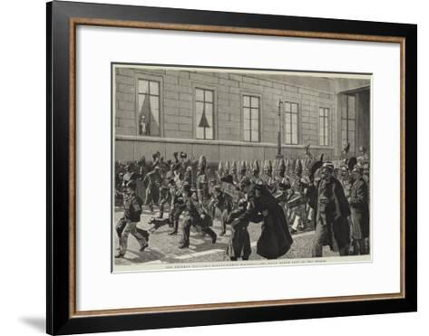 The Emperor William's Eighty-Eighth Birthday, the Daily March Past of the Guards--Framed Art Print