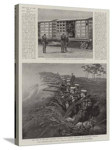 The War in the East, Japanese Infantry at a Review Defending an Intrenched Position--Stretched Canvas Print
