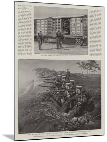 The War in the East, Japanese Infantry at a Review Defending an Intrenched Position--Mounted Giclee Print