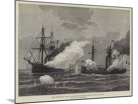 Combat Between Hmss Shah and Amethyst and the Peruvian Ironclad Turret-Ram Huascar--Mounted Giclee Print