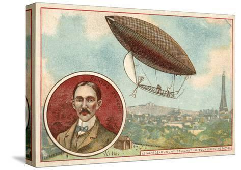 Alberto Santos-Dumont's Airship Flying around the Eiffel Tower, Paris, 19 October 1901--Stretched Canvas Print