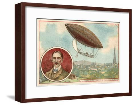 Alberto Santos-Dumont's Airship Flying around the Eiffel Tower, Paris, 19 October 1901--Framed Art Print