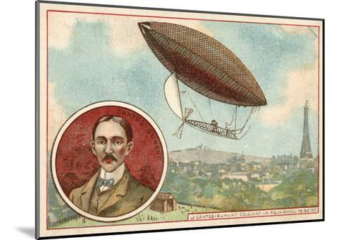 Alberto Santos-Dumont's Airship Flying around the Eiffel Tower, Paris, 19 October 1901--Mounted Giclee Print